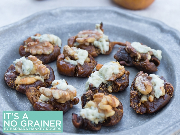 Grilled Figs with Gorgonzola Cheese & Walnuts