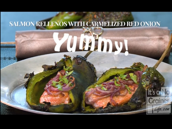 Salmon Rellenos with Caramelized Red Onion
